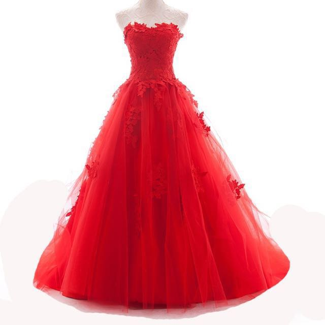Red Sequin Wedding Gown