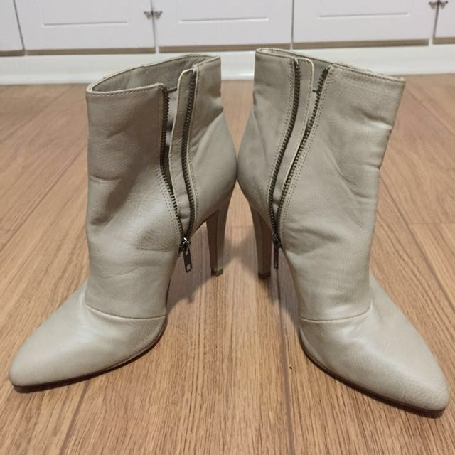 REPRICED Cream Leather Ankle Boots