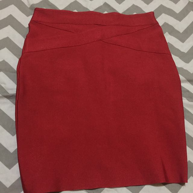 RUSH SALE! AUTH FOREVER 21 RED BODYCON SKIRT! SUPER PRETTY!