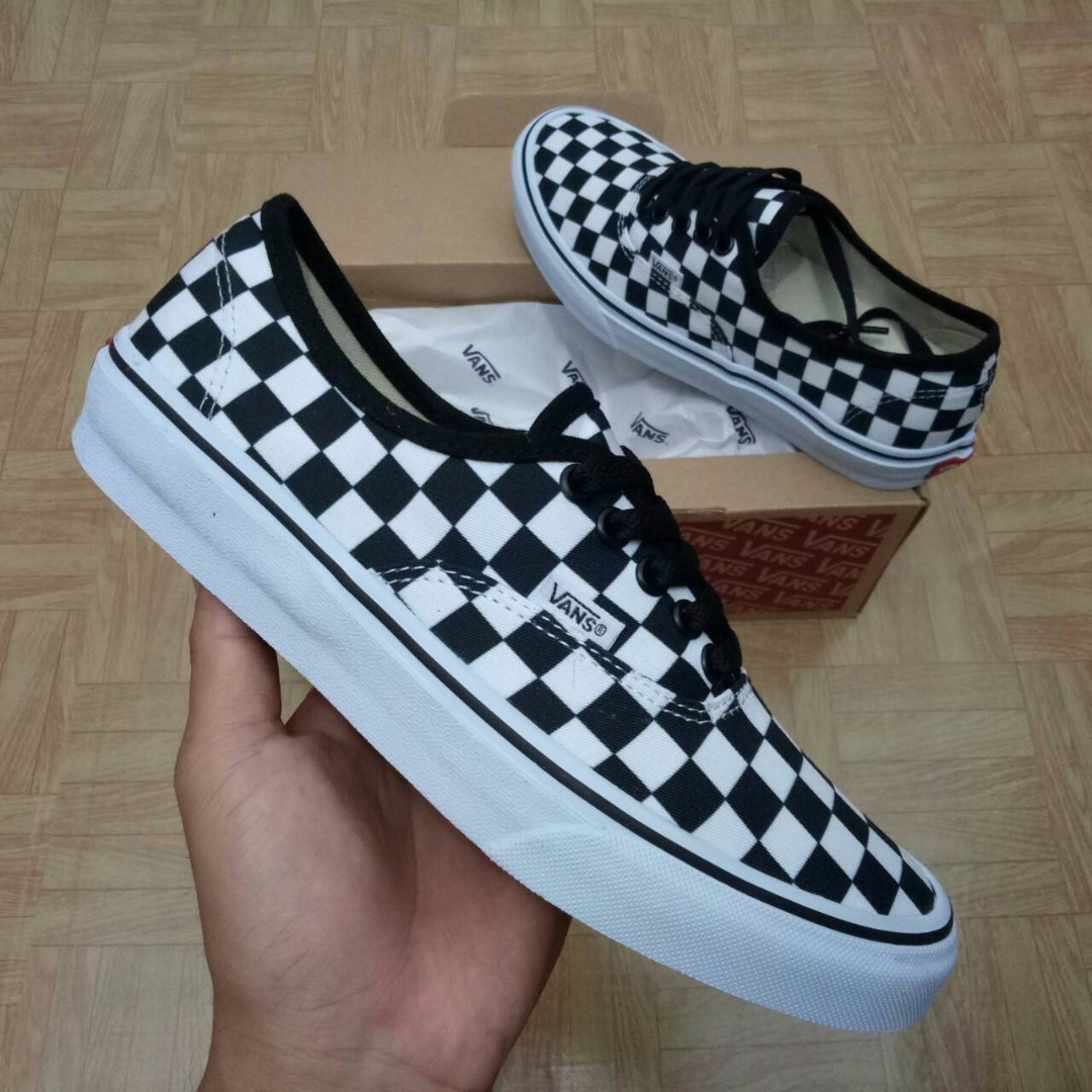 SEPATU VANS AUTHENTIC CHECKERBOARD BLACK WHITE PREMIUM WAFFLE DT ... d6b8aa953