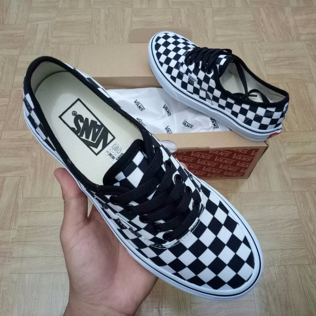SEPATU VANS AUTHENTIC CHECKERBOARD BLACK WHITE PREMIUM WAFFLE DT BNIB (Brand  New In Box) FULL TAG BARCODE MADE IN CHINA d093364d8