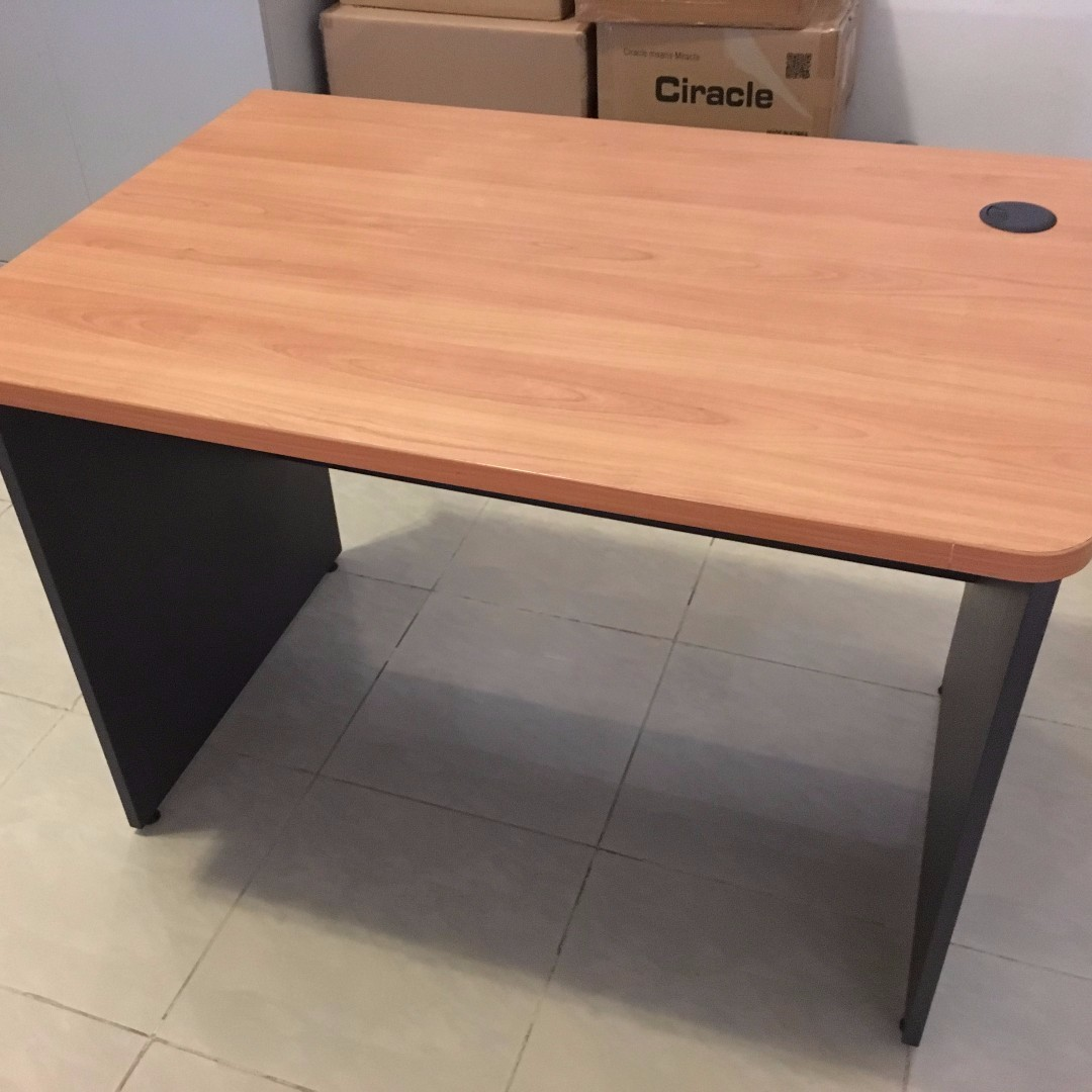 simple sturdy office desk with beech coloured top and dark grey