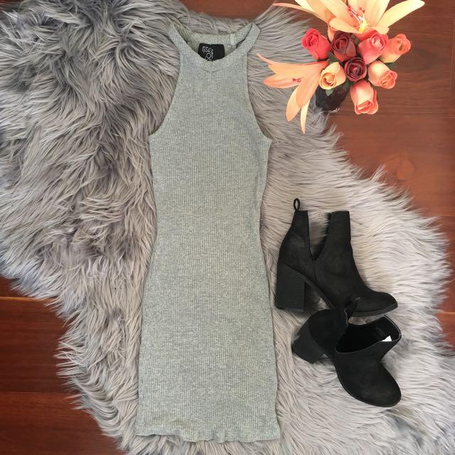 Tigermist Grey Ribbed Bodycon Mini Dress Size XS