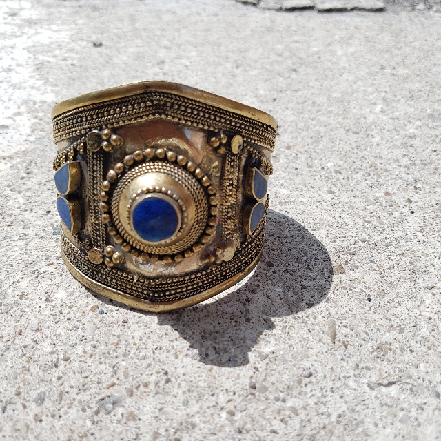 Vintage Handmade Bohemian Hammered Brass Bracelet