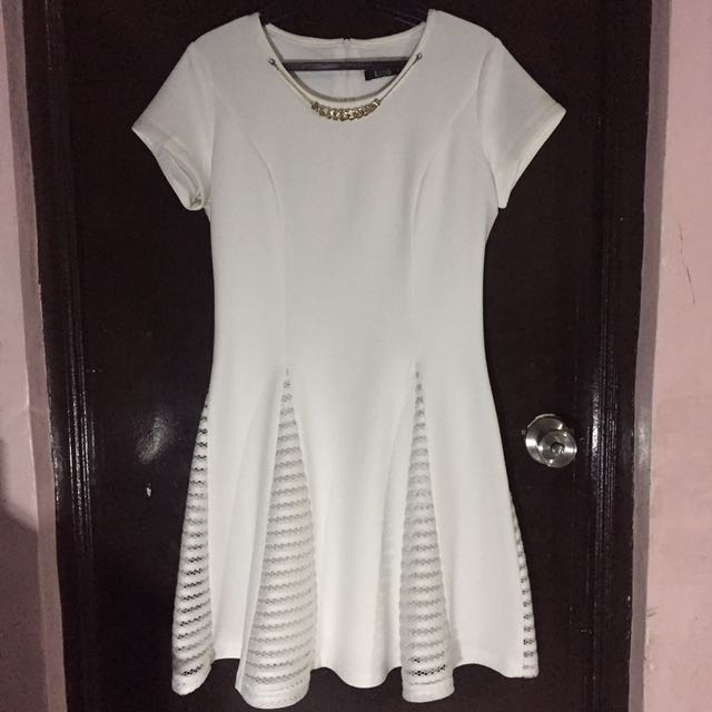 White Cocktail Dress With Gold Chain