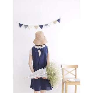 純白/深藍格紋後背蝴蝶結綁帶小洋裝