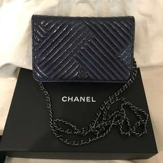 Chanel Woc 藍色 wallet on chain