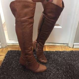 Distressed Brown Leather Thigh High Boots Size 38 / 8