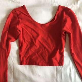 American apparel red long sleeve crop