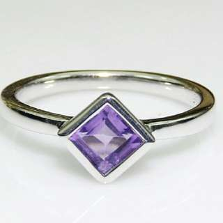 Vintage 925 Sterling Silver 5 mm Square Natural Amethyst  Anniversary Ring Engagement Ring Fine Jewelry for Women