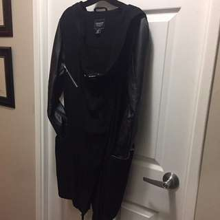 Black faux leather mix coat with hood size small
