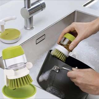 2 in 1 Palm Scrub Dish Liquid Soap Dispenser with Washing Storage Stand Kitchen Cleaning Tools