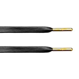 Black Lambskin Leather Laces - Gold Aglets