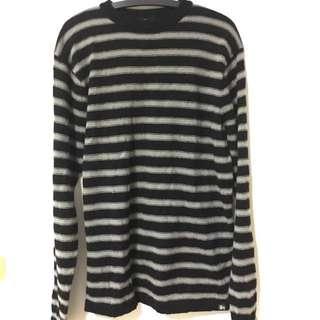 Stussy 黑灰橫條紋薄毛衣 XL
