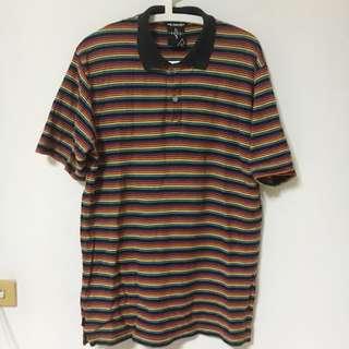 台牌Taki彩虹橫條紋Polo衫 XL