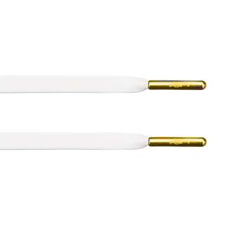 White Lambskin Leather Lace with Gold Aglets