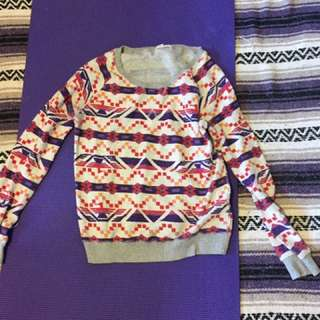 Grey and multi coloured tribal pattern sweater