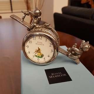 Brand New ROYAL SELANGOR PEWTER Teddy Bear Clock