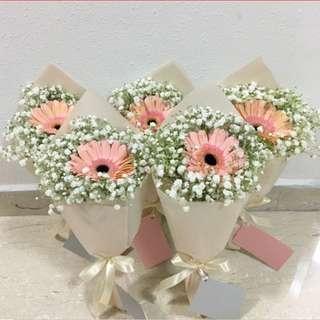 Peach Gerberas with Baby Breath / Sweet birthday bouquet