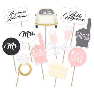 Team Bride Team Groom Eat Cake Party Wedding Photo Booth Props Set of 12
