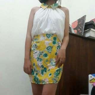 Halterneck Flowery Mini Dress