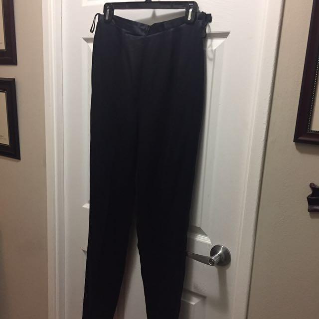 100% Silk black joggers size 10 / Medium vintage
