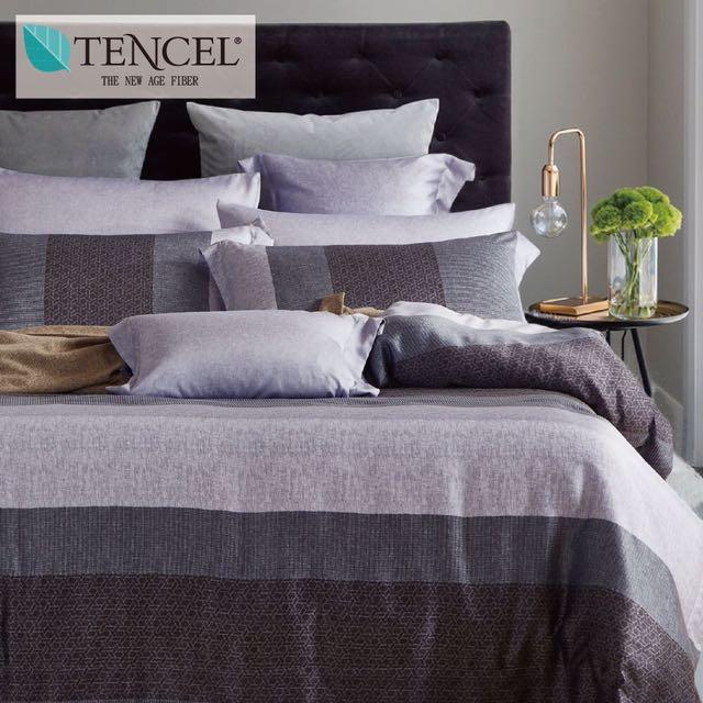 【樂】100%天絲TENCEL 雙人/雙人加大/特大 40支天絲 四件式鋪棉兩用被套床包組&鋪棉兩用被套床罩組(布洛灰)