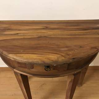 "Balinese teak half moon table 32"" height"