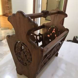 "Balinese teak magazine rack 19"" length"