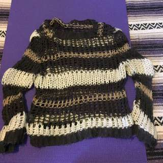 Knit /crotchet brown and tan sweater
