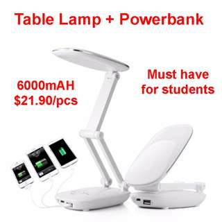 Table Lamp with Powerbank Reading Light Powerbank Battery for Students Gifts College
