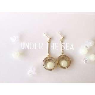 白玉珍珠耳環