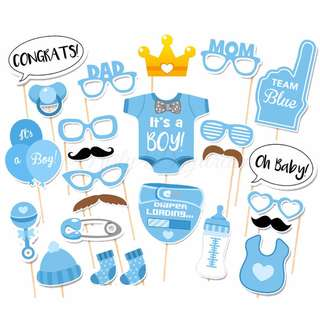 Team Baby Boy Blue Party Wedding Baby Shower Photobooth Props