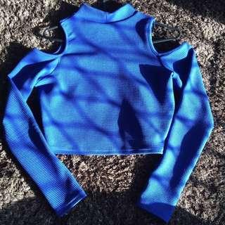 Blue Long Sleeve Open Shoulder Crop