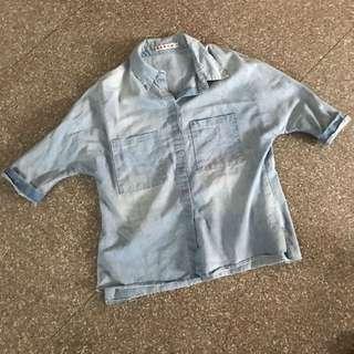 Denim washed boyfriend shirt