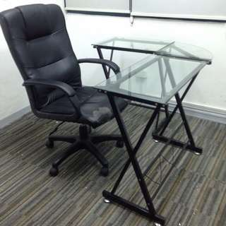 Office Table Executive L-shape Glass Table