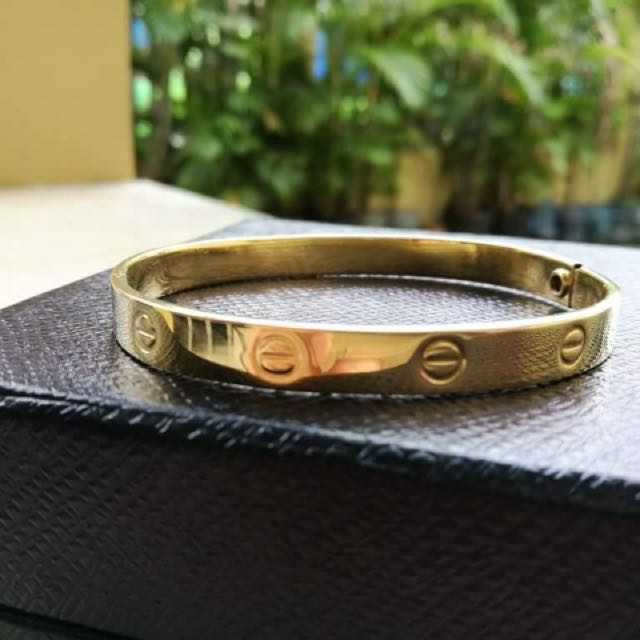 14k yellow gold cartier inspired love bangle