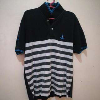 Polo Shirt with white stripes (L)