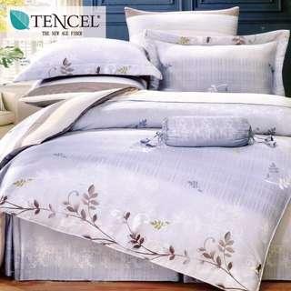【樂】100%天絲TENCEL 雙人/雙人加大/特大 40支天絲 四件式鋪棉兩用被套床包組&鋪棉兩用被套床罩組(隨心話語)