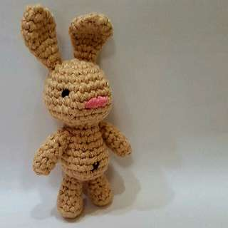 Bunny Crochet - Japanese Amigurumi Brown Rabbit - Crocheted Little Brown Hare Plush Toy With Silver Keyring And Lobster Clasp