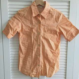💎森林系女孩 橘色格子襯衫💎#含運最划算 #女裝九九出清 #夏日九九出清