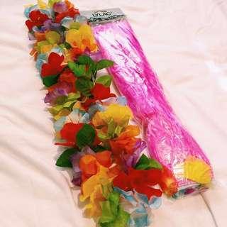 Hawaiian Flower Leis and Straw Skirt