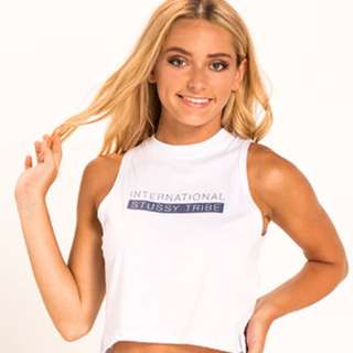 Stussy -  White Muscle Crop Top