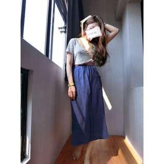 寶藍色長裙/可當平口洋裝#女裝九九