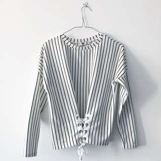 Long sleeve jumper top, tie up detail, size S