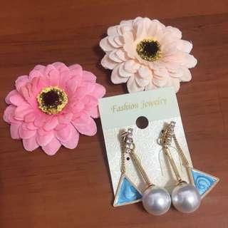 新款氣質珍珠孔雀藍三角形耳環