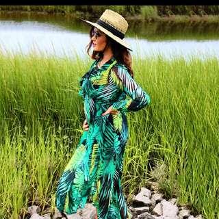 #sugarbird #autumn #palm leaf printed #longsleeve #vneck #beach #maxidress #elegant women #boho #dress. Worn few minutes for fotoshoot. #size8 - #size10