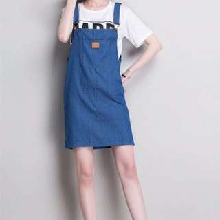 Dark blue overall denim dress
