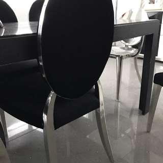 6 black classy velvet & SS dining chairs