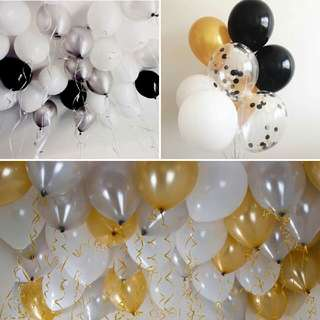 "Balloons 12"" Black/White/Gold/Silver/Transparent Deflated"